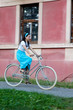Retro girl on old bike