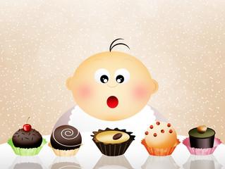 Child eats chocolates
