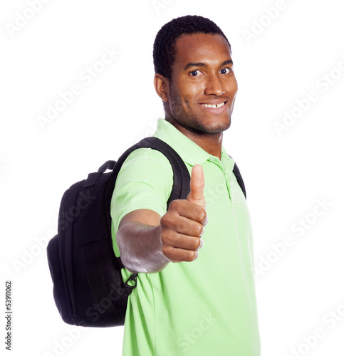 African American student thumb up - isolated over a white backgr