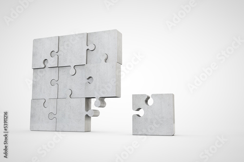 jigsaw puzzle made of bright cement