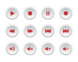 Red media player buttons