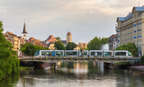 Tram at Gallia station in Strasbourg - Alsace, France