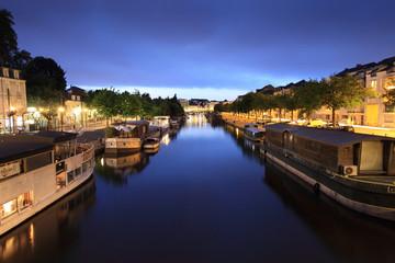 Quai de l'Erdre de nuit - Nantes