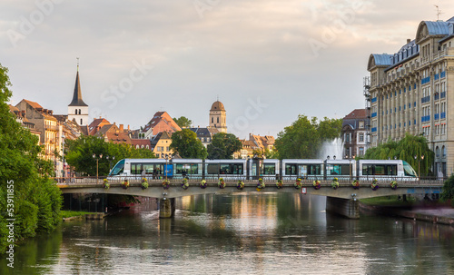 Tram at Gallia station in Strasbourg - Alsace, France