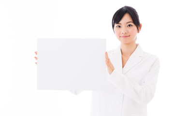 attractive asian doctor on white background