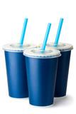 Three dark blue cardboard cups with a straws