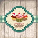 illustration of vintage retro frame with cupcakes design