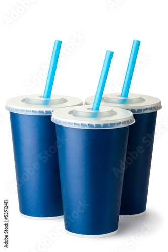 Three dark blue cardboard cups with a straws