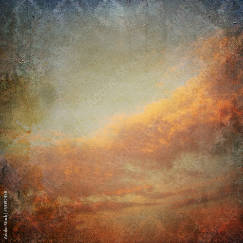 Vintage background with clouds in the sky - 53912459