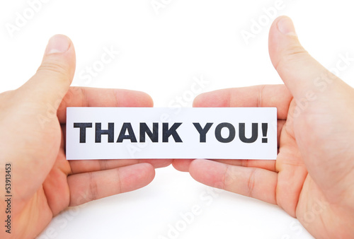 hands holding paper of thank you with clipping path
