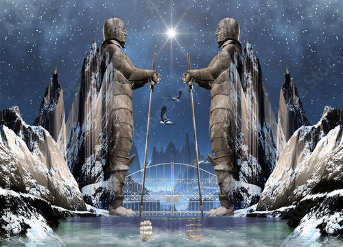 Fantasy Scene with Statues, Mountains and a Lake