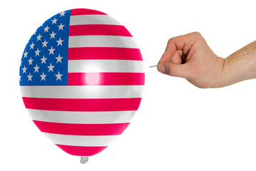 Bursting balloon colored in  national flag of america