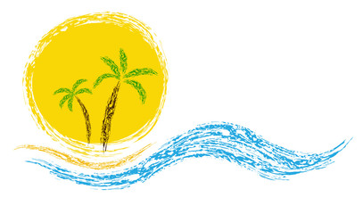 Palm on coast. Vector image for design