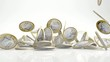 falling Euro coins in slow motion