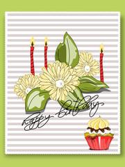 Geburtstag, Karte mit Muffin und Kerzen