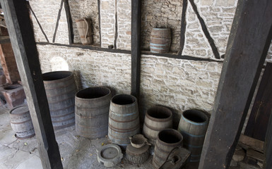 Open old wooden barrels