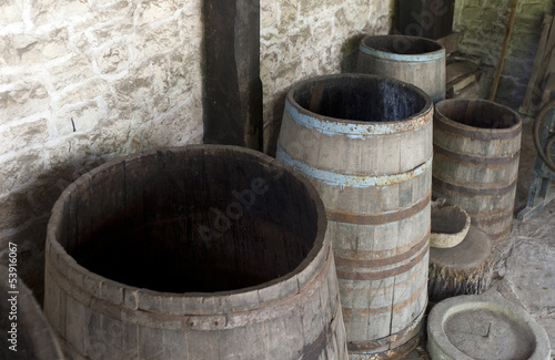 Open old wooden barrels