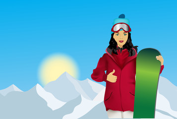 Woman with snowboard on a mountain background