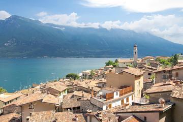 Limone, Monte Baldo, Gardasee, Italien, Hafen