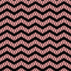 Black chevron on pink lace mesh seamless pattern, vector