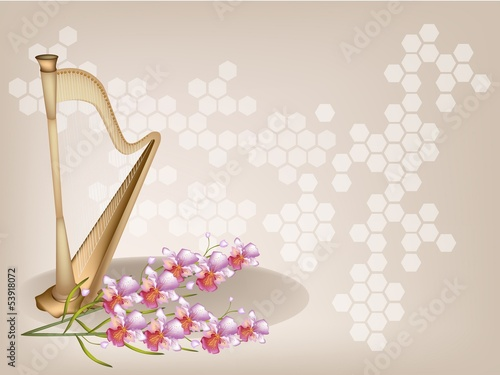 A Beautiful Harp and Orchid on Brown Background