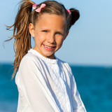 Cute girl with ponytails. poster