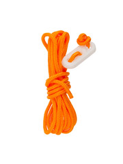 Orange rope used for bracing a tent