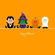 Halloween Dracula, Witch, Pumpkin & Ghost