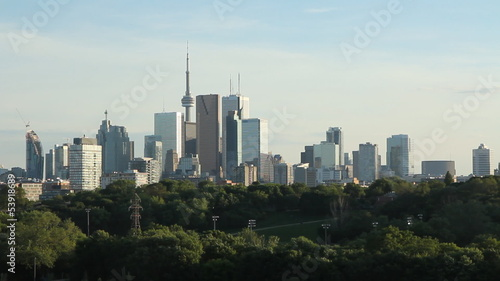 Toronto. Green trees of Don Valley in the foreground.