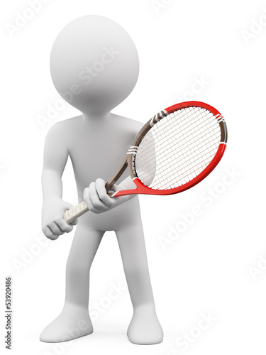 3D white people. Tennis player to return