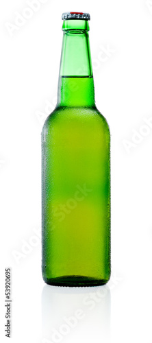 Green Beer Bottle with Condensation isolated on white background