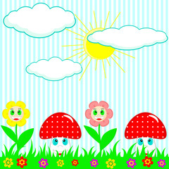 Mushrooms and flower vivid background