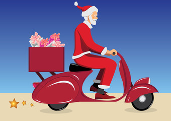 santa claus on vintage red scooter