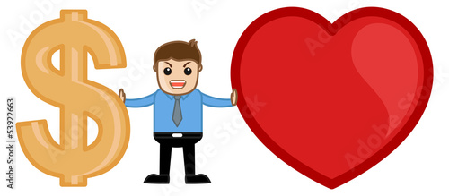 Love or Money Concept Cartoon Vector