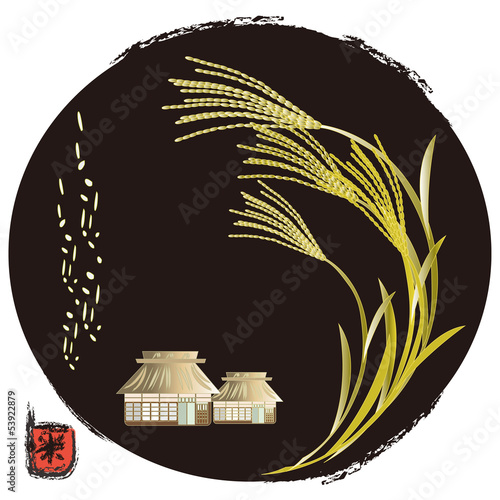 稲穂と農家 farmers house and rice plants
