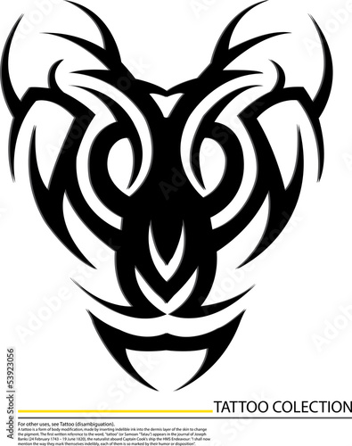 Editable illustration of an ornate tribal bird tattoo