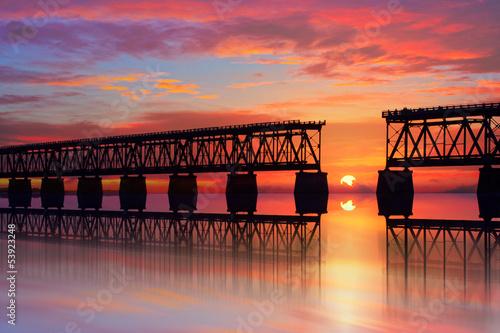 Zdjęcia na płótnie, fototapety, obrazy : Beautiful colorful sunset or sunrise with broken bridge
