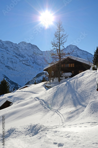 Murren, famous Swiss skiing resort