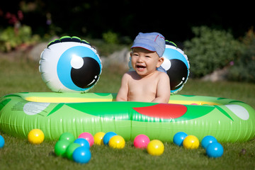 baby boy and kids rubber pool