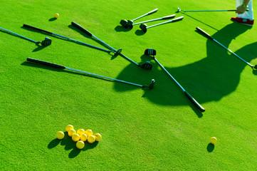 Iron golf club and golf ball on green grass