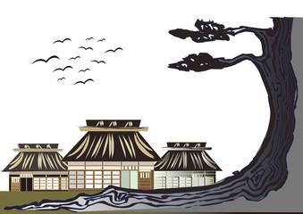 日本の農村と松 paper cutout:village in Japan