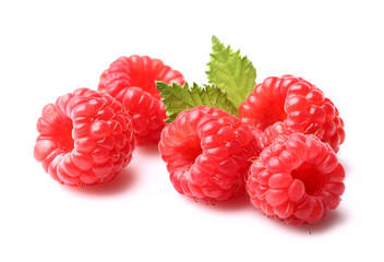 Ripe raspberry with leaf