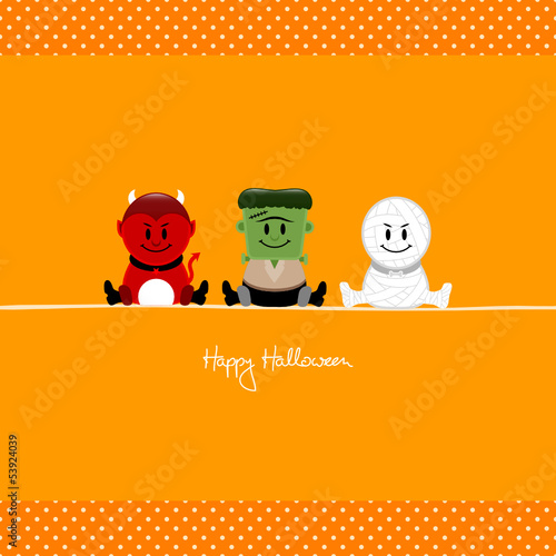 Halloween Devil, Frankenstein´s Monster & Mummy Dots