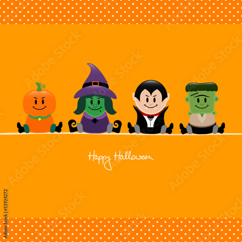 Halloween Pumpkin, Witch, Dracula & Frankenstein´s Monster Dots