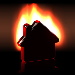Burning home icon in flames