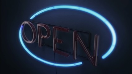 Flickering neon open sign looped