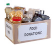 Food donations box isolated on white background - 53924687