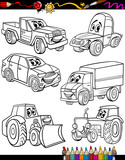 cartoon vehicles set for coloring book - 53924609