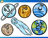 Planets and Orbs Cartoon Characters Set