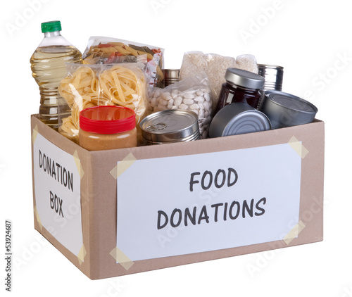Deurstickers Situatie Food donations box isolated on white background